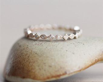 Full Eternity*14K Rose Gold Ring*Vintage Bridal Wedding Band* Diamond Wedding&Engagement Band*Anniversary Ring*Solid Gold Diamond Band