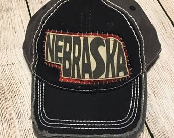 Nebraska Hat with distressed bill