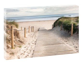 Gone to the beach picture Beach sea stretcher canvas poster XXL 120 cm * 80 cm 623