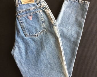 New Old Stock 1980s Guess Jeans 32 High Waisted Light Blue Faded Denim Skinny Tapered