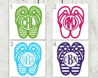 Monogram Flip Flop Decal - Summer Decal - Beach Decal - Flip Flop Car Decal - Flip Flop Decal - Gift for Beach Lover - Teen Gift - Flip Flop