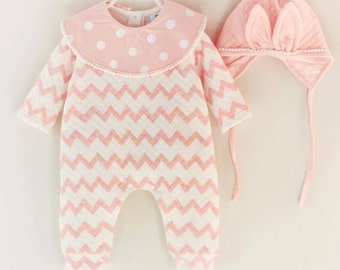 Baby Girl Soft Pink and White Zig Zag Romper with hat