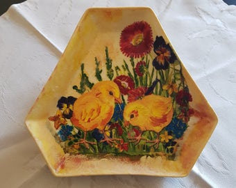 Easter decoupage plate