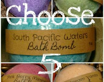 Set of 5 Bath Bomb - Mix and Match Scents, gluten free, vegan
