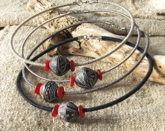Recycled Guitar String Necklace, repurposed jewelry, african necklace, fiber necklace, thread wrapped necklace, statement choker necklace
