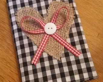Fabric covered notebook - gingham