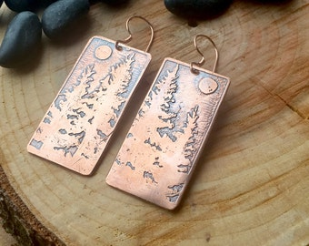 Copper Etched Noble Firs Under the Moon Earrings