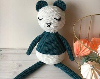 Crochet Bear- Amigurumi panda- dark green- toys for kids- handmade toys- original presents- panda love- baby shower presents- good style toy