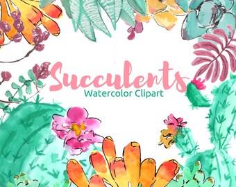 Succulents Clip Art - Watercolor Clip Art - Floral Clip Art - Watercolor Clip Art -  Flower Clip Art - Clip Art Drawing