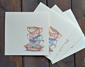 Tea Cups   Card Set (of 4) - Hand Painted