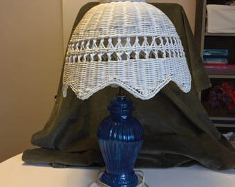 Vintage Blue Glass Wicker Shade Lamp