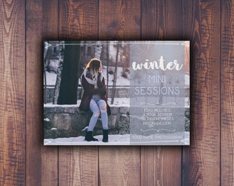 Rustic Winter Mini Session Digital Template 7x5 card | Photographer Marketing Board | Booking Ad | Photoshop Template PSD | INSTANT DOWNLOAD