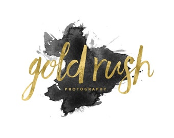 Gold Makeup Artist Logo / Watercolor Logo / Gold Calligraphy Logo / Cursive Logo / Gold Photography Logo and Watermarks / Modern Logo Design