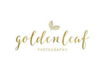 Leaf Logo / Gold Photography Logo Design / Cursive Logo / Gold Script Logo / Rustic Logo / Gold Nature Logo / Gold Logo / Gold Blog Logo