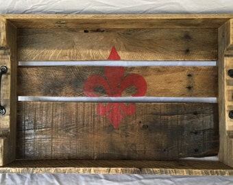 Decorative Wood Tray with Hand Painted Red Fleur de Lis