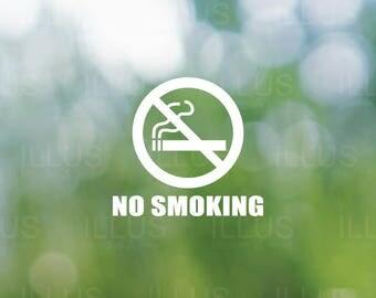 No Smoking White Vinyl Decal //  No Smoking Sign, No Smoking Decal, No Smoking Sticker, Smoker Decal, Business Storefront, Business DIY