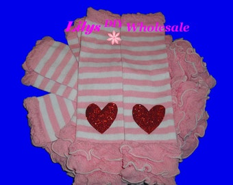Leg Warmers, Customized Baby Legwarmers, Toddler Legwarmers, Pink with Pink and White Stripes Legwarmers, Wholesale, Pink, Pink and White