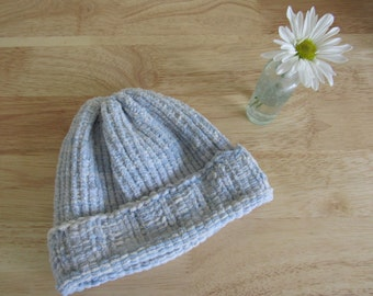 Hand Knit Soft Blue Toddler Hat