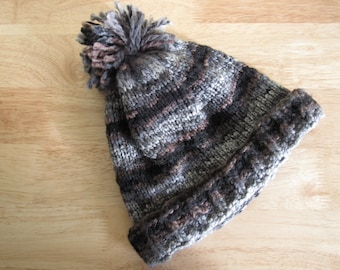 Hand Knit Brown, Black and Gray Striped Hat