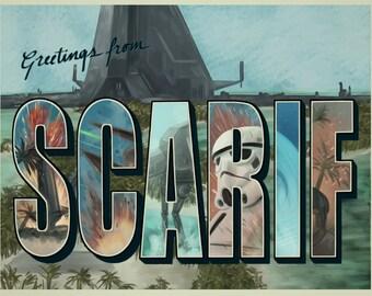 ROGUE ONE: A Star Wars Story Scarif Vintage Postcard (Fanart)