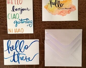 Handpainted Greeting Post Cards with Envelopes
