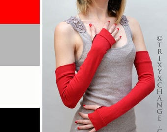TRIXY XCHANGE Long Red Cotton Arm Warmers Cotton Fingerless Gloves Red Elbow Length Gloves Red Gloves Fibromyalgia Scar Arm Covers Diy Anime