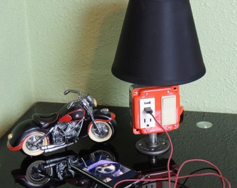 USB Mobile Device Charger Lamp-Steampunk Lamp-Pipe Light-Industrial Lamp-Desk Lamb-Table Lamp-Nightstand Lamp-Phone-Black Pipe