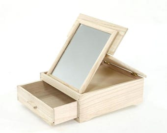 6 drawer jewelry boxes with removable mirror and balsa. For decoupage