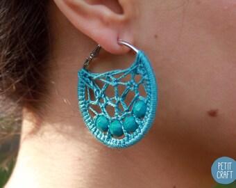 Crochet Hoop Earrings with Beads in Teal