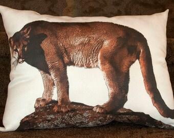 Mountain Lion Photograph Cougar Photograph Cougar Pillow Wildlife Pillow Lodge Decor