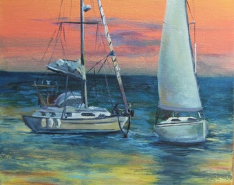 Boat painting Ocean art Seascape painting Oil painting Sunset ocean art Ocean sunset decor Nautical decor Sailing gift Nautical gift