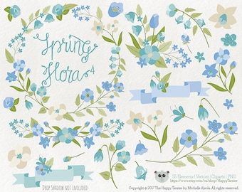 Flowers Clipart 80% OFF! – Spring Flora 4 Vector Graphics, Flower Clipart, Floral Clipart, PNG, Clip Art, Blue