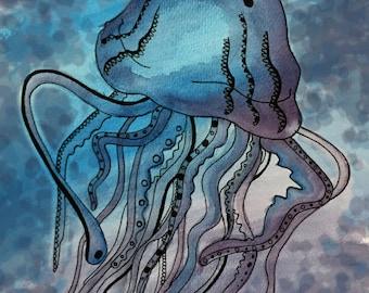 5' X 7' Gloss Jellyfish Print