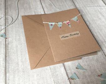 Rustic Floral Bunting Design Handmade Happy Birthday Card