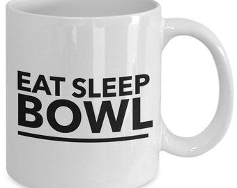 Bowling Gift Coffee Mug - Eat Sleep Bowl - Unique gift mug for him, her, husband, wife, boyfriend, men, women