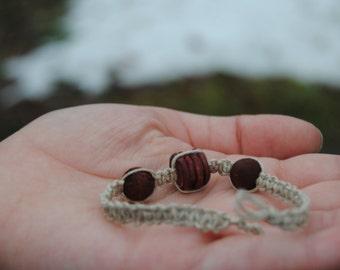 Hemp Bracelet with Wooden Beads