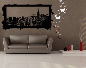 Wall Window Decal Sticker Big Picture With New York Inside Childroom Teen  Room Bedroom Guestroom 137u Part 95