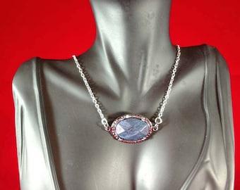Retro Blue Stone Pendant Necklace