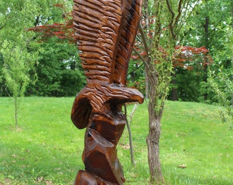 Eagle Chainsaw Carved from Poplar, 62 Inches