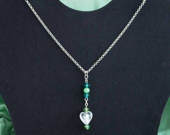 Summertime heart pendant necklace with green accents