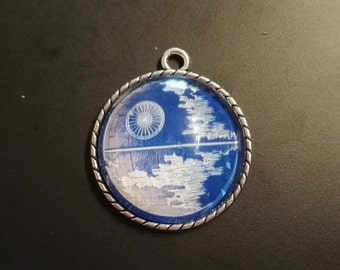 Blue Print Deathstar star wars necklace or Keychain cabochon