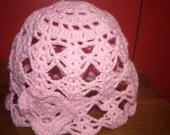 Summer hat crocheted For a newborn girl