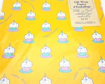 Vintage Cupcakes Happy Birthday Bright Yellow Wrapping Paper Sealed Birthday Gift Wrap Made in the USA Craft Supplies Scrapbook Supplies