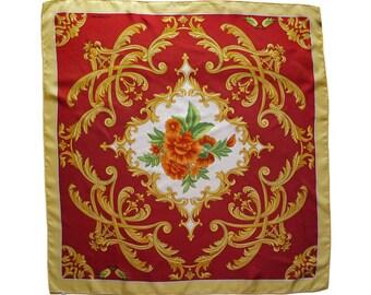 "Vintage Lancel Paris bandana scarf red floral 100% silk 34,65x34,65"" Made in France"