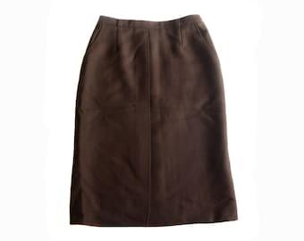 Vintage Pierre Castelle 100% virgin wool women skirt brown