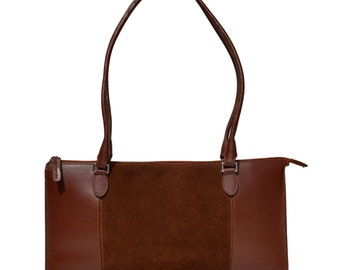 Vintage Mazzini Firenze women bag purse brown leather made in Italy handbag 2 handle