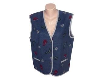 Vintage women vest navy blue 100% wool size 38 edelweiss metal buttons