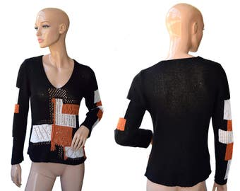 Vintage women top blouse black orange white