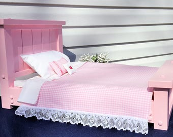 Pink Country Style American Girl 18 in Doll Bed