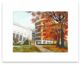 Watercolor painting print - Autumn Walk to Class
